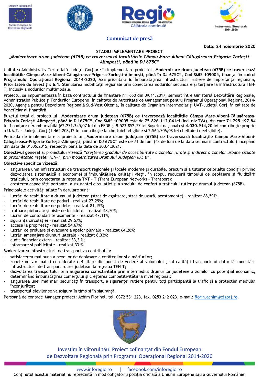 Comunicat presă CJ Gorj 24.11.2020